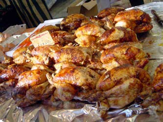 Fresh roasted chickens